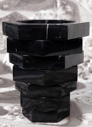 3Wdesign El Yapımı Mermer Altıgen Saksı Siyah
